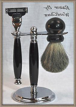 Shaving Razor Handmade Ebony Set Dobule Edge Safety Gillette