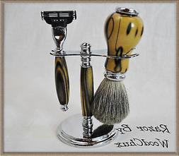 Shaving Razor Set Handmade Black & White Ebony Wood DE Safet