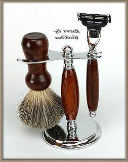 Shaving Razor Set Handmade Rare Snake Wood DE Safety Mach 3