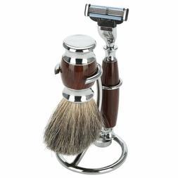 Stainless Steel Men Barber Shaving Brush Safety Razor Holder