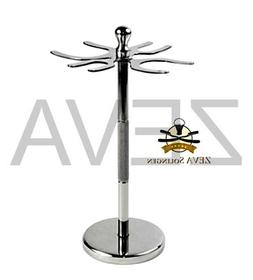 Stainless Steel 4 Prong Safety Razor and Shaving Brush Stand