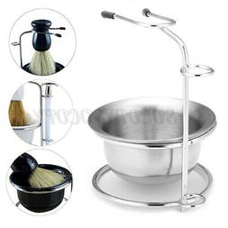 Stainless Steel Shaving Brush Safety Razor Stand Soap Bowl H