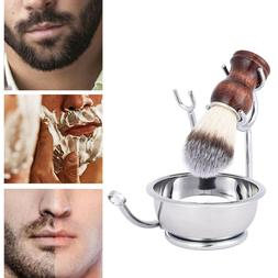 Stainless Steel Shaving Brush Safety Razor Stand Soap Bowl H