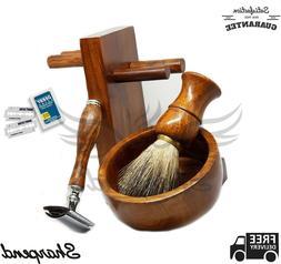 Traditional Men's Shaving Gift Kit Set - Safety razor, Badge