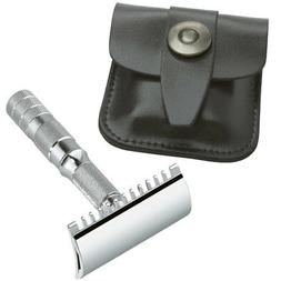MERKUR Solingen - Travel safety razor, leather case, open co