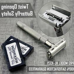 Twist Open Butterfly Safety Razor &10 Double Edge Blades Cla