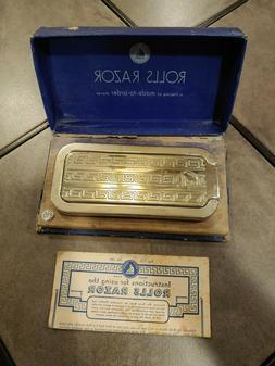 Vintage British Rolls Safety Razor With Strop Hone Blade Ins
