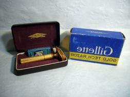 Vintage GILLETTE Gold Tech Razor Traveling Case Original Box