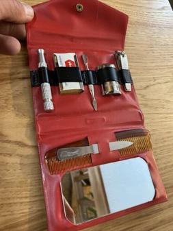 Vintage Mens Grooming Travel Set Gillette Safety Razor With