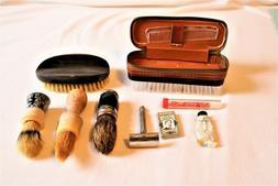 Vtg Shaving Supplies Gillette Safety Razor 3 Brushes Styptic