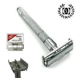 WET MEN'S SHAVE DOUBLE EDGE BUTTERFLY OPENING SAFETY RAZOR +