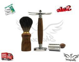Wood 3 Piece Shaving Set   DE Safety razor & Badger Brush  