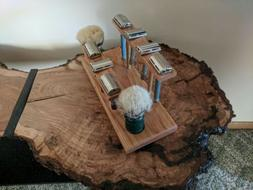 Wooden American Made safety  razor and brush stand