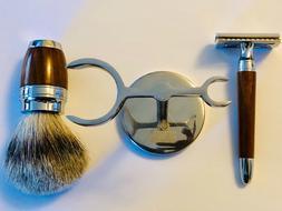 Wooden Safety Razor Shaving Kit with Badger Brush With Shavi
