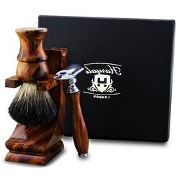 Wooden Wet Shaver Kit - Safety Razor - Shaving Brush - Stand